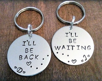 Set of 2,Couples Key Chains,Distance Keychains,Deployment Keychain,Deployment Gift,Police Officer Gift,Army,Navy,Air Force,Marines gift