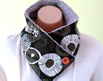 Japanese cotton Neck warmer - Black x Khaki