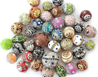 40 Piece Kashmiri Boho Beads