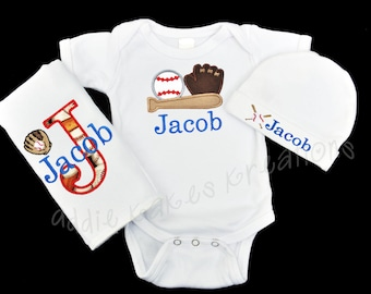 Personalized Baseball Baby Bodysuit, Cap and Bib or Burpcloth Set