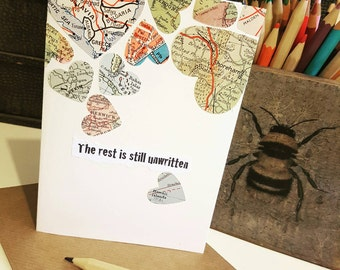 The rest is still unwritten  - handmade card using original vintage map pieces