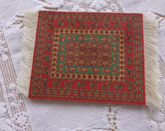 Mini Oriental Doll Rug for doll house, show or drinks.  Oriental designs are beautiful  Great condition