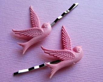 Pastel pink dove hair bobby pin 2pc