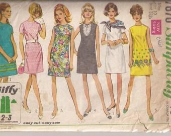 Simplicity Jiffy 7670 Pattern Misses Dress, Size 10, Bust 32 1/2,  Vintage 1968
