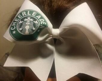Cheerleaders - cheer bow - on white ribbon or white glitter