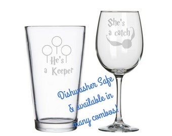 He's a Keeper She's a Catch - Happy Potter Wedding Gift - His and Hers Glasses - 3rd Anniversary gift - Harry Potter bridal shower