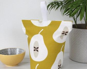 Fabric door stop -  Mustard Yellow Large Pear print