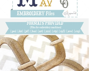 4 sizes French Fishtail Embroidery Font/Alphabet for Machines  | Instant Digital Download | Fishtail Alphabet / BX font / Fish tail