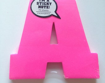 Monogram Sticky Notes - Letters A, H, J and L - Neon Pink & Orange