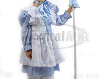 Custom Boutique Halloween LITTLE BO PEEP Girls Size Costume Dress Set in Blue