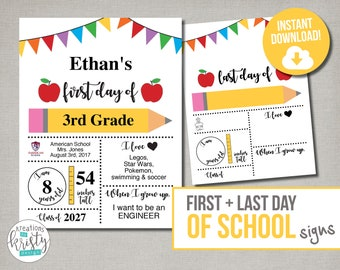 Printable First and Last Day of School Signs with Child Details, Instant Download, Digital File