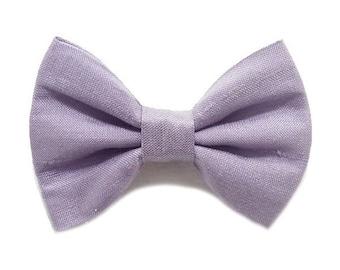 Brooch bow tie, silk, purple.