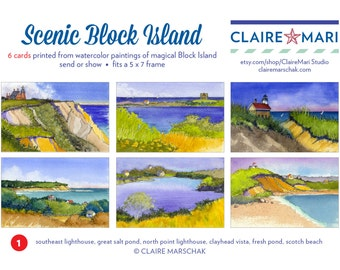 Scenic Block Island greeting card set , 6 watercolor images, blank , collection #1