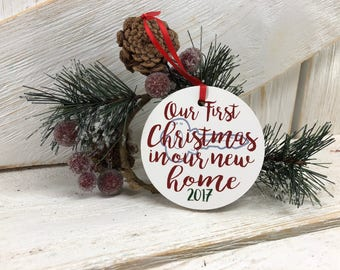 Our First Christmas In our new home tree ornament / housewarming gift / new homeowner Christmas