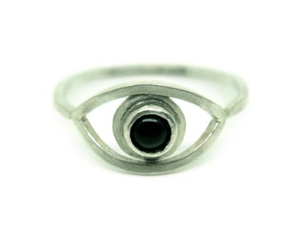 Sterling silver & onyx evil eye ring