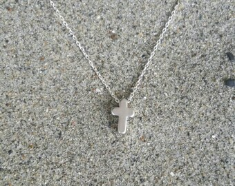 Cross Necklace, Tiny Cross, Silver Cross, Pendant