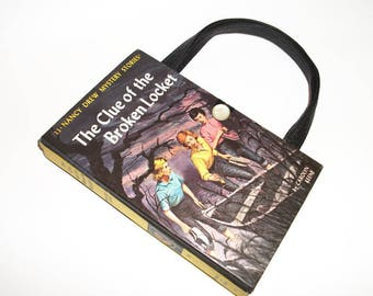 Nancy Drew Book Purse Clue of the Broken Locket Handbag Vintage Book Purse