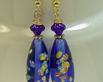 Vintage Japanese BLUE Millefiori Glass Flower Teardrop Bead Earrings Vintage Blue German Pressed Glass, Gold French Ear Wires -GIFT WRAPPED