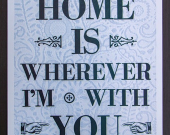 Home is Wherever I Am With You Letterpress Poster
