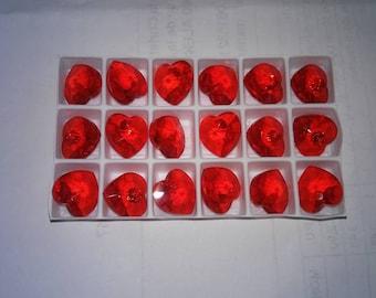 hearts red 10X10mm swarovski crystal light siam