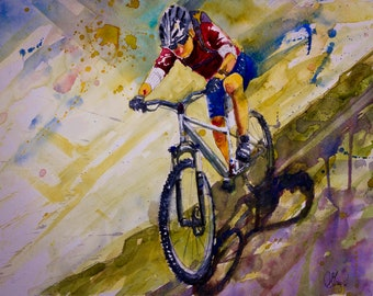 MOUNTAIN BIKER ART * Giclee Print on Canvas * Modern Watercolor Print on Stretched Canvas * Free Shipping to UsA