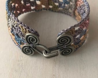 Crocheted Granny Square Bracelet with Spiral hook Enclosure/ Antique Pastel Cuff Bracelet/ Jewelry