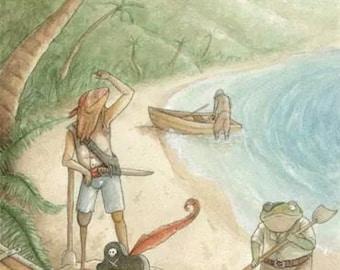 Lizard pirate island - print