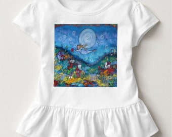 Sleep Fairy Girls Toddler Ruffle Top, Original Art from My Children's Book