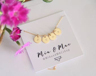 3/8 Inch 14kt GOLD FILLED Initial Necklace, Personalized Initial necklace, Hand stamped, Gold Letter Necklace, Gold Necklace,Bridesmaid Gift