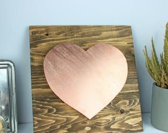 Rose gold heart on wood, Rustic wood nursery, Rose gold wall decor, Nursery wall decor, Rustic nursery deco, Rose gold nursery, Nursery deco