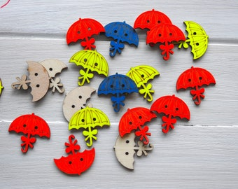 Wooden Button Umbrella, Neon colours -3 pcs