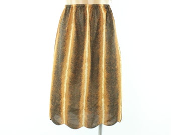 60s Formfit Rogers Half Slip Lingerie Feather Print Nylon Scalloped Vintage 1960s Medium M Pinup Rockabilly