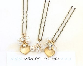 RTS calla lilly gold Hair Pins, Pearl Hair Pins, Pearl Bobby Pins, U-Pin Bridal Hair Accessory, Swarovski Hair Accessories