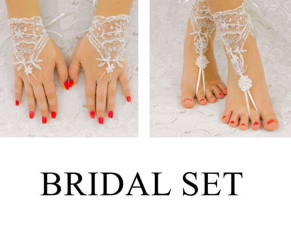 Bridal Set,  Beach Wedding Barefoot Sandals, Wedding Gloves, MarrietDress 03