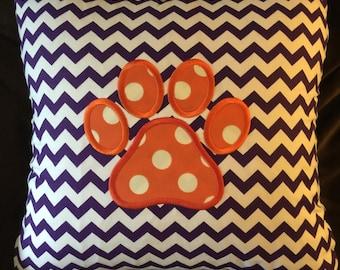 Clemson Tigers Decorative Pillow, Clemson Collegiate Pillow