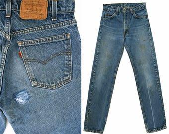 70s Vintage Levis Jeans Orange Tab 505 Levis Jeans High Waist Levis Denim Distressed Dark Denim Levis 505 Boyfriend Fit Straight Leg 28 x 31