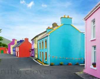 Eyeries, Co. CORK, Colorful Houses, Small Town Ireland, Pink House Photo, Ring of Beara, Vibrant, Ireland Photography, Irish Pub, Blue House