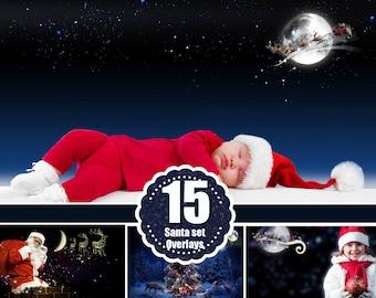 Flying santa overlay, Christmas overlays, Moon overlay, New Year overlays, Photoshop Overlay, fairy dreamy fantasy overlays, png file