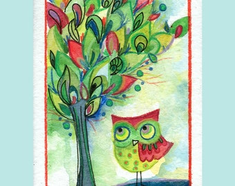 The Naturalist - Archival Art Print 3.5x5 owl watercolor