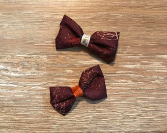 Fall burgandy leaves bow clip
