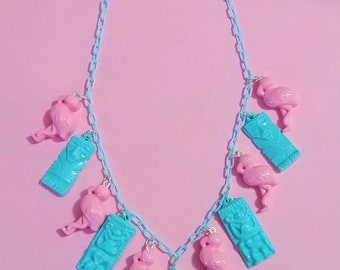 Tiki Flamingo Necklace, Tiki Necklace, Tiki Idol, Resin Tiki Jewelry,
