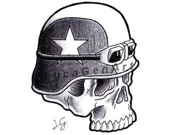 Biker Skull Handmade Drawing, Instant Download, Digital Print, Made in pencil and ink, Tattoo Sketch, Tattoo Flash