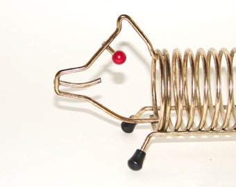 Vintage Brass Wire Pig Coil Letter and Pen Holder