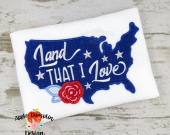 Land I Love, United States of American, Applique, Machine Embroidery Design, Summer, 4th of July, USA, 4x4, 5x5, 5x7, 6x10, 9x9 EM165