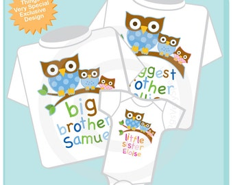 Set of 3 - Matching Sibling SET - Sibling Shirt Set - Owl Biggest Brother, Little Sister Matching Set of 3 - toddler sibling set (12272013c)