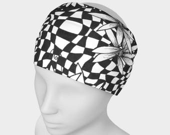 Floral Reversible Headband | Exercise Headband | Fitness Headband | Black Headwrap | Wide Head Wrap | Extra Wide Headband | Black Head Wrap