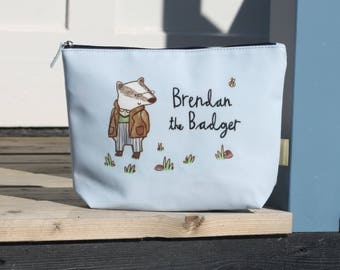 Pastel Blue Badger Oil Cloth Childs Wash Bag and New Baby Diaper Pouch Gift For Baby Shower