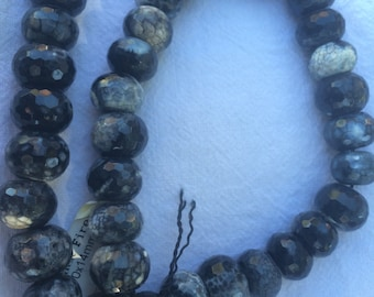 "Black Fire Agate; 10x14mm; Faceted; 35 beads per strand; 14 3/4"" strand"