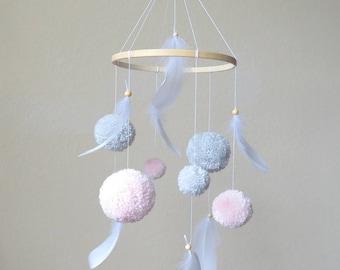 Baby mobile pink gray, pom pom mobile, baby mobile feathers, girl nursery decor, pink and gray nursery, teen girl room decor, college dorm
