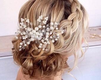 Bridal Headpiece With Comb, Pearl Bridal Hair Comb, Wedding Headpiece, Wedding Hair Accessories, Bridal Hair Pieces, Wedding Hair Comb